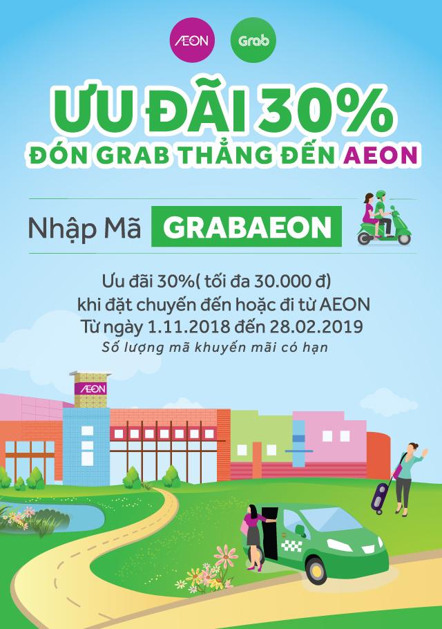 Ưu đãi 30% đón grab thẳng đến AEON