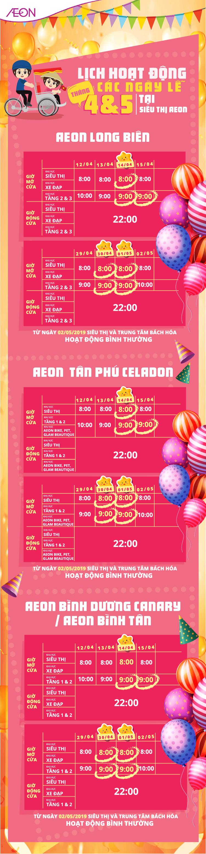 Lịch hoạt động các ngày lễ tháng 4 & 5 tại siêu thị Aeon